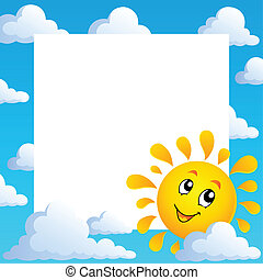 Sun theme frame 1 - vector illustration.