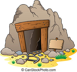 Cartoon mine entrance - vector illustration
