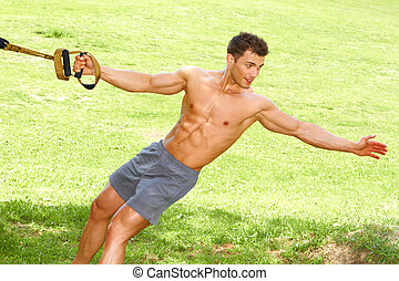 Fitness man in park