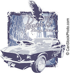 classic car grunge - illustration for shirt printed and...