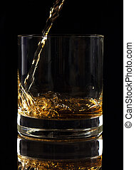 Liquor Pouring into Glass - Liquor pouring into glass with...