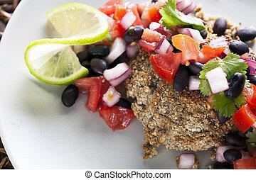 Black Bean Salsa Veggie Burger - Black bean salsa on a...