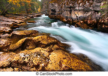Cascades of Maligne Canyon Canada - Cascading waters through...