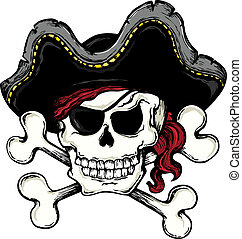 Vintage pirate skull theme 1 - vector illustration