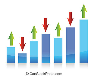 graph up and down arrows illustration design