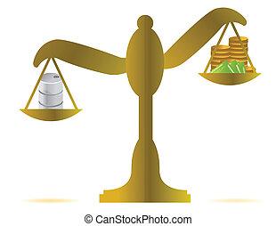 money vs oil balance illustration design over white