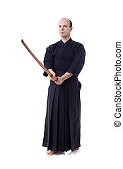 Kendo fighter - kendo fighter with bokken isolated on white