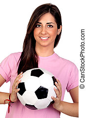 Atractive girl with a soccer ball isolated on white...