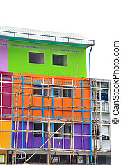 Buildings are painted