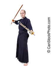 Kendo fighter - kendo fighter with bokken and shinai...