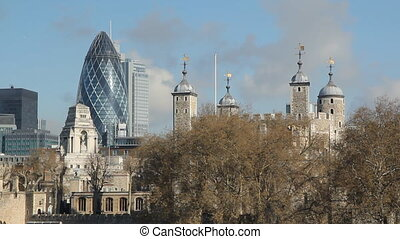 London skyline - Morning view of 30 St Mary Axe and other...