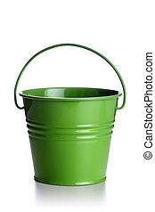 green bucket - small green bucket isolated on white...