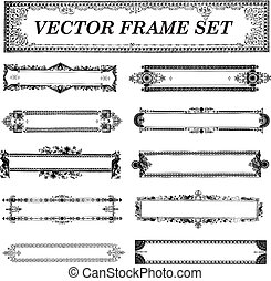 Vector Retro Ornament and Frame Set. Easy to edit. Perfect...