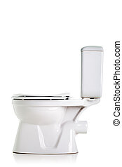 toilet - closed toilet, side view, isolated on white
