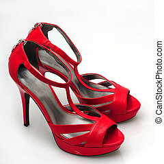 Red leather stilettos - Red fashionable stiletto heels on...