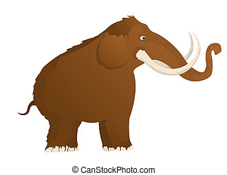 Woolly mammoth, isolated and grouped objects over white...