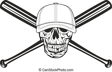 skull and crossed bats - The vector image skull in baseball...