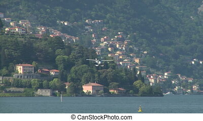 seaplane landing 12 - Seaplane landing on Lake Como in Italy