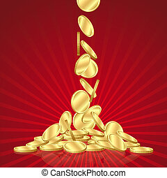 Falling gold coins - Money golden rain, falling gold coins...