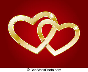 Two gold hearts - Two hearts of gold on a red background