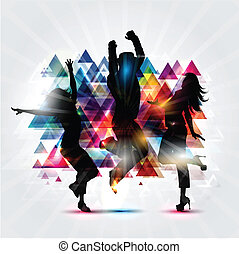Party people background - Silhouettes of people dancing on...