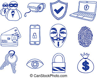 Security and hacking - hand-drawn icons - Illustration of...