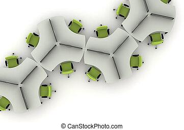 Workstation table-3d illustration
