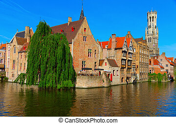 canal and houses at Bruges, Belgium - View of canal, belfry...