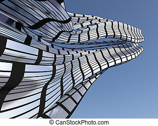 Abstract architectural background with blurred reflections