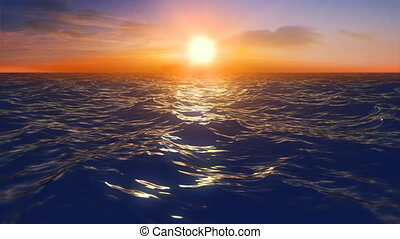 Ocean fly sunset - Render of flying over ocean at sunset