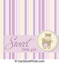 childish baby shower card with hippo toy