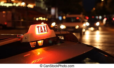 Taxi. - Paris taxi at night on the Champs d%u2019Elysees,...