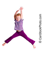 studio shot of young girl jumping - the studio shot of young...