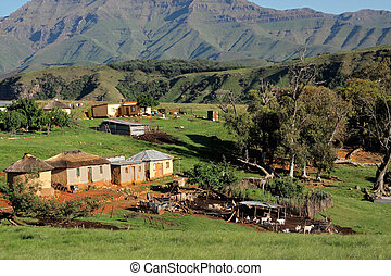 Rural settlement and livestock - Rural settlement with...