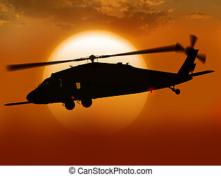 Helicopter at sunset - Render UH-60 Black hawk helicopter...
