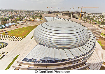 The Africa Union Hall - A viwe of the roof of the newly...