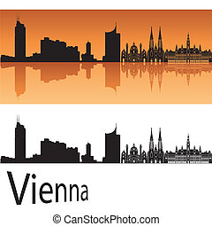 Vienna skyline in orange background in editable vector file