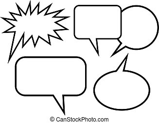 Simple Cartoon Blank Word Balloons - A set of simple cartoon...