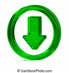 Green Download Icon - Green glass download symbol Part of a...