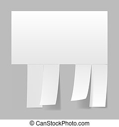 Blank advertisement with cut slips Illustration on white