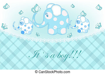 Beautiful childrens card - Three blue elephants with...