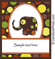 Fun colorful elephant - Funny elephant on a brown background...