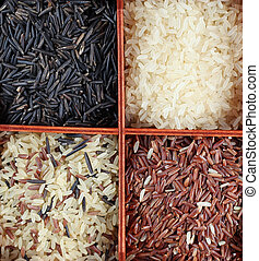 Rice collection - Various kinds of rice in a box