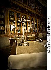 decorativo, escalas, justiça, biblioteca