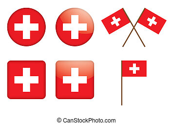 badges with Swiss flag