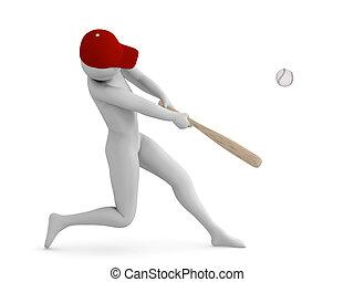Baseball player hitting the ball