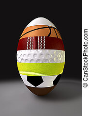 Segmented Sports Ball - A segmented ovoid shaped ball with...