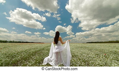 Woman With White Scarf In Field - Young Woman With White...