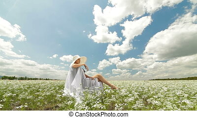 Young Woman On White Field In Summer