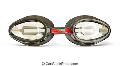 goggles - plastic goggles  for swimming isolated on a white